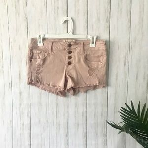 Altar'd State | High Rise Distressed Pink Shorts